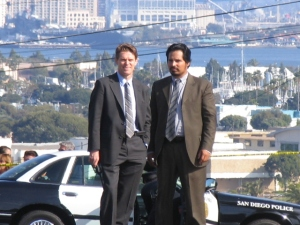 "Willem Dafoe and Michael Pena on location shooting ""My Son, My Son, What Have Ye Done."" Photo by J Rios."